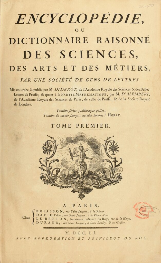 """Cover of the first volume of """"Encyclopédie, ou dictionnaire raisonné des sciences, des arts et des métiers""""(Encyclopaedia or a Systematic Dictionary of the Sciences, Arts and Crafts). Edited by Denis Diderot and Jean le Rond D'Alembert. Published between 1751 et 1772. Public Domain."""
