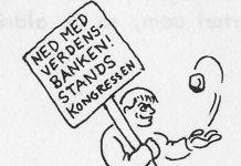 Fra KUF-pjece: Om Verdensbanken, 1970, s. 15. Tegning: Madsen.