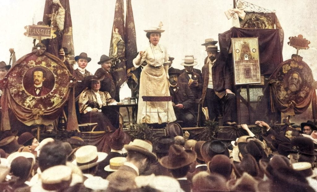 Rosa Luxemburg addresses a crowd in Stuttgart, Germany in 1907. In one of her earliest interventions in the Social-Democratic Party of Germany (SPD).