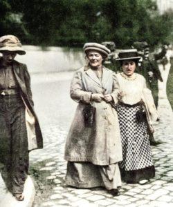 Rosa Luxemburg walks through streets of Mannheim with fellow revolutionary socialist, Clara Zetkin, 1910. Colered version.