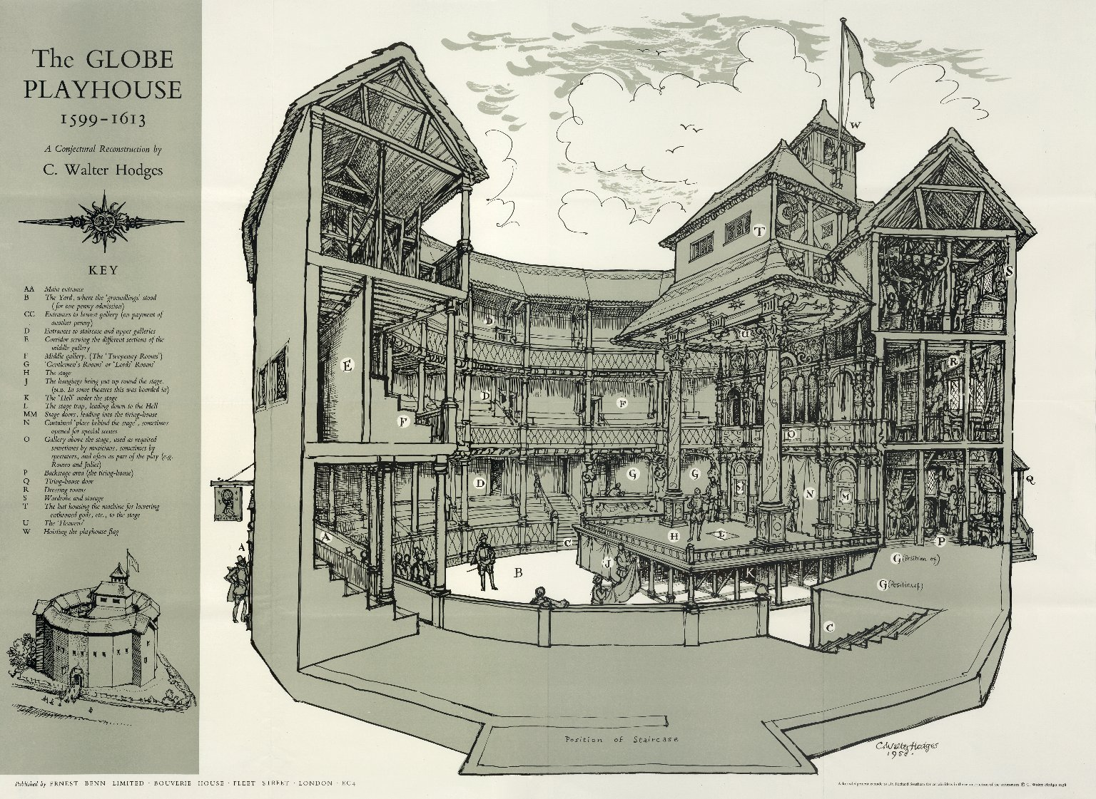 The Globe Playhouse, 1599-1613. Conjectural reconstruction of the Globe theatre based on archeological and documentary evidence. Made in 1958 by C. Walter Hodges (1909–2004), English artist and writer. Collection: LUNA: Folger Digital Image Collection. (CC BY-SA 4.0).