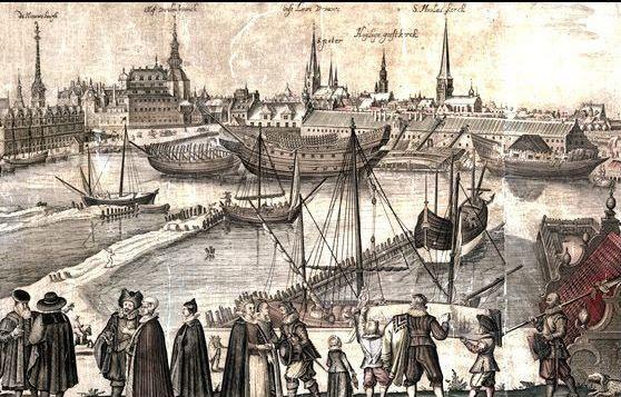 Detalje fra Hugo Allards indgravering af København, Danmark, dateret fra 1650'erne, men baseret på et værk fra 1620'erne. Detaljen viser Bremerholm, det kongelige danske søværn. Indgravering af Hugo Allard(t) (1627-1684), Dutch draughtsman, engraver and painter. Kollektion: Det Kongelige Danske Bibliotek. Public Domain.