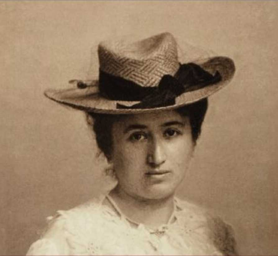 Rosa Luxemburg (1871–1919) was a Polish-born German Marxist political theorist, socialist philosopher, and revolutionary. Photo: Unknown photographer around 1895-1900. Public Domain.