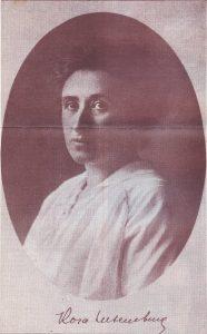 Portræt Rosa Luxemburg. Photo: Taget mellem 1895 og 1905 (?) af ukendt fotograf. Public Domain.