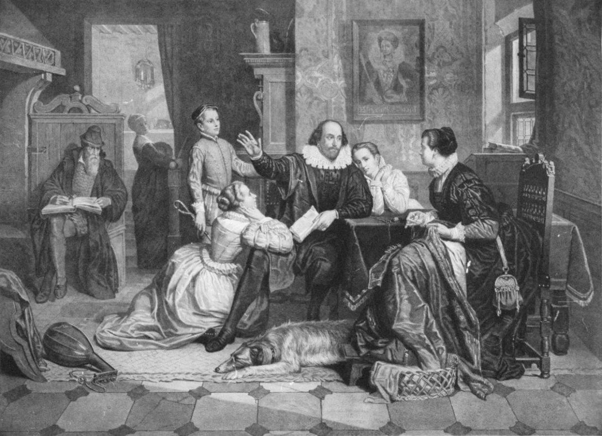 Illustration of William Shakespeare reciting his play Hamlet to his family. His wife, Anne Hathaway, is sitting in the chair on the right; his son Hamnet is behind him on the left; his two daughters Susanna and Judith are on the right and left of him. Hamnet&Judith are twins. Photo of Engraving from circa 1890 by unknown German artist. Public Domain.