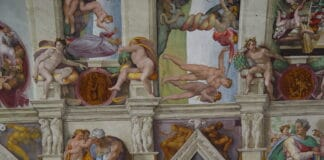 Sistine Chapel, detail of a fresco. Photo: uploadet 8 January 2006 by the photographer W. Hochauer. (CC BY-SA 2.0 DE).
