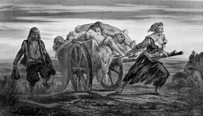 A cart of plague victims at Elliant drawn by a woman in rags. Lithograph from 1852 by Jean-Pierre Moynet (1819-1876), French painter, theatre designer, lithographer, after Louis-Jean-Noël Duveau (1818-1867), French painter. Collection: Wellcome Trust. (CC BY 4.0).