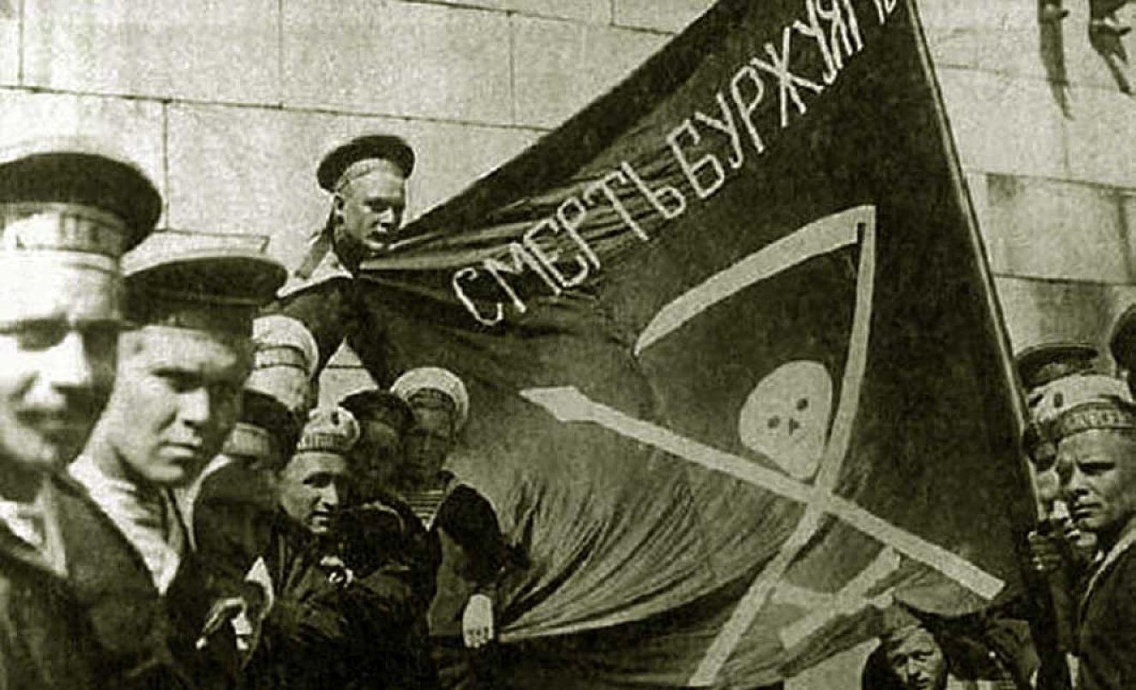 Kronstadt sailors on the battleship Petropavlovsk, 1917. Photo: Unknown. Public Domain.
