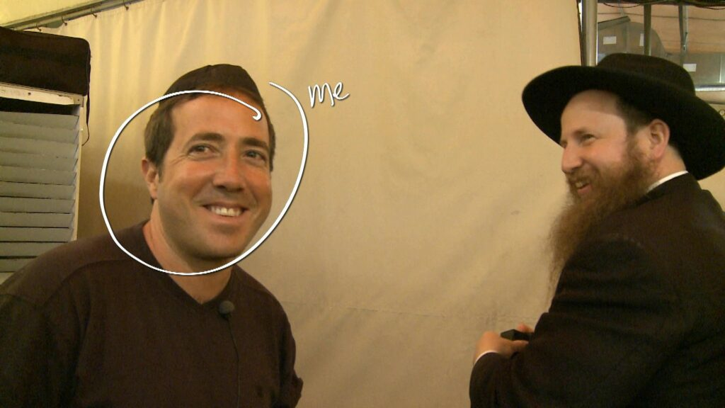 """Schreenshot from the film """"Defamation"""", af Yoav Shamir: The Director Yoav Shamir (In circle) and Chabad rabbi in one of the scenes."""