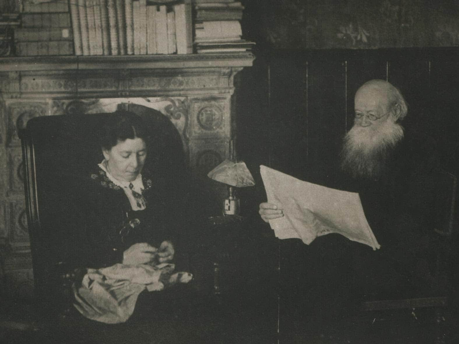 P.A.Kropotkin and his wife Sophia Grigorievna in their Dmitrov house, ca. 1920. Photo: Unknown.