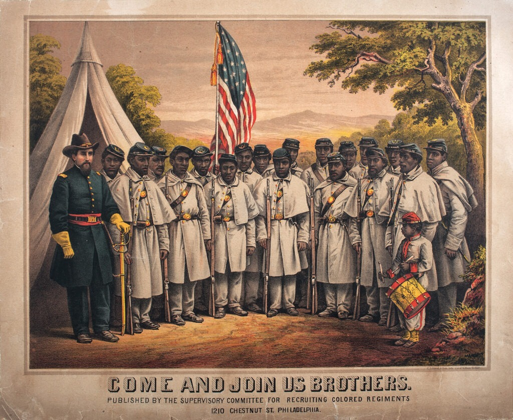 A black regiment with a white commander: Come and Join Us Brothers, by the Supervisory Committee For Recruiting Colored Regiments, 1 January 1865. Public Domain.
