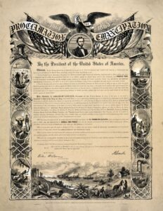 Photograph of a reproduction of the Emancipation Proclamation, 1864. Collection: the United States Library of Congress's Prints and Photographs division. Public Domain.