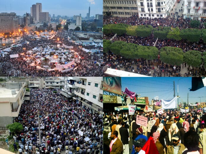 A collage for MENA protests. Clockwise from top left: 2011 Egyptian revolution (February 9, 2011), Tunisian revolution (14 Jan 2011), 2011 Yemeni uprising, 2011 Syrian (Banyas demonstration) uprising. Compiled and uploaded 12 april 2011 by HonorTheKing at English Wikipedia. (CC BY-SA 3.0).