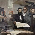 Marx and Engels at the Rheinische Zeitung. Oil on convas painted 1849 by E. Capiro. Public Domain.