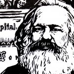 Karl Marx - Cropped version. Artist: Holzschnitt made in 1970 by Robert Diedrichs (1923–1995), German graphic artist, painter and illustrator / Royal Opera House Covent Garden. (CC BY 2.0). Source: Wikimedia Commons.