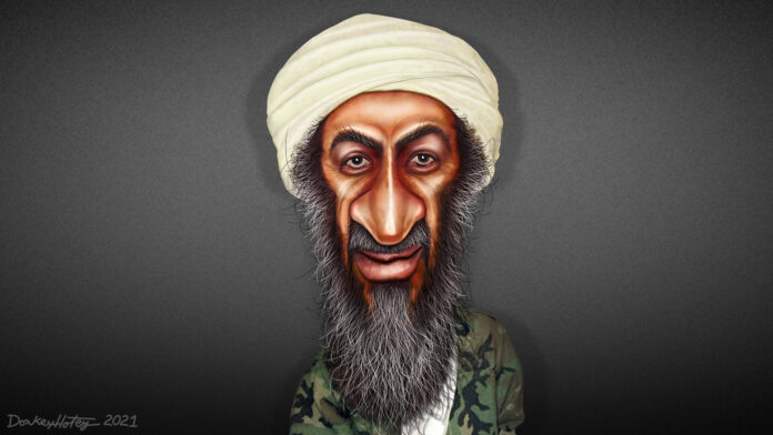 Osama Bin Laden - Caricature. Art: Made in 2021 by DonkeyHotey (CC BY 2.0).