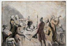 """Jomfru Charlotte Dorothea Biehl vil castrere Holberg."" Satire af Cornelius Høyer (1741-1804), miniaturmaler. Public Domain."