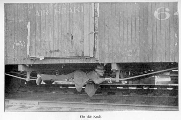 Jack London lies on the rods underside of a boxcar, 1907. Public Domain.