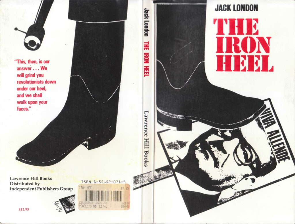 The cover of a 1977 edition of the Iron Heel, published by Lawrence Hill, London.