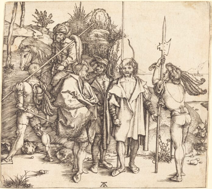 Landsknechte (mercenaries). Five Soldiers and a Turk on Horseback. Engraving from 1495/1496 by Albrecht Dürer. Collection: National Gallery of Art, Washington, D.C., USA. Public Domain.