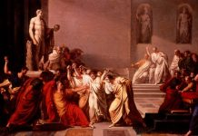 The Death of Julius Caesar. Oil on canvas painted between 1804 and 1805 by Vincenzo Camuccini (1771–1844), Italian painter. Collection: Galleria Nazionale d'Arte Moderna e Contemporanea, Rome, Italy. Public Domain.