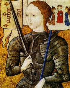 Johan of Arc. Oil on parchment and pigment painted between 15th century and 20th century by unknown artist. Collection: Archives nationales, Paris, France. Public Domain.