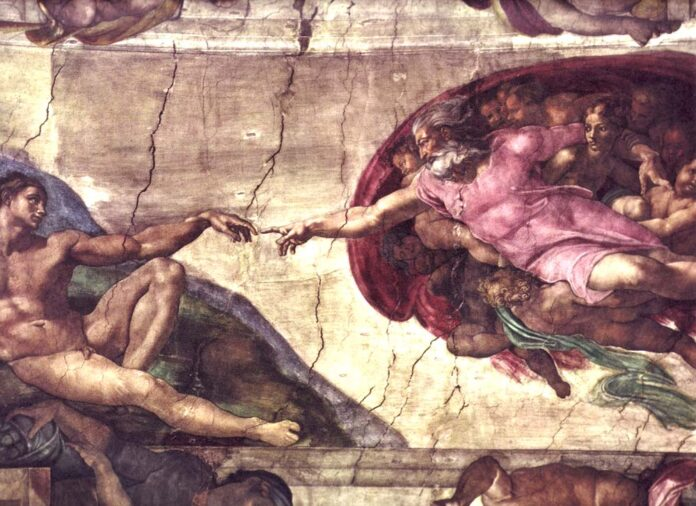 The Creation of Adam, Fresco made in 1511 before the restoration of the Ceiling by Michelangelo (1475–1564), Italian painter, sculptor, architect, poet and inventor. Collection: Sistine Chapel, Vatican City, Rome. Public Domain.