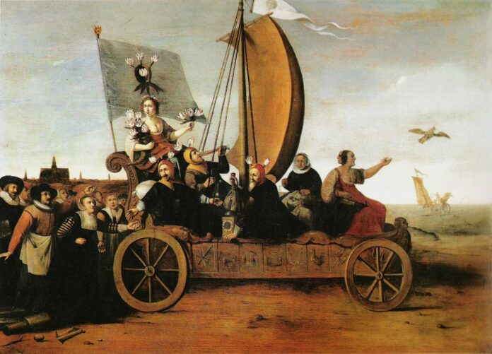Flora's crazy wagon. Allegory of the Tulip Mania. The goddess of flowers is riding along with three drinking and money weighing men and two women on a car. Weavers from Haarlem have thrown away their equipment and are following the car. The destiny of the car is shown in the background: it will disappear in the sea. Oil on panel painted 1637/1638 by Hendrik Gerritsz Pot (1580/1581–1657), Dutch painter, draughtsman and miniaturist. Collection: Frans Hals Museum, Haarlem, Netherlands Photo: van Diepen en Fuhri Snethlage (1990), Frans Hals museum.