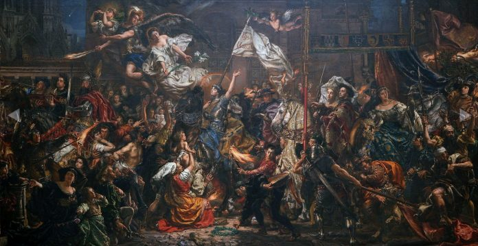 The Maid of Orléans. Oil on canvas painted in 1886 by Jan Matejko (1838–1893), Polish-Austro-Hungarian painter and university teacher. Collection: National Museum Poznań.