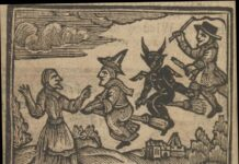 Witches flying on broomsticks. From the book: The history of witches and wizards: giving a true account of all their tryals in England, Scotland, Swedeland, France, and New England; with their confession and condemnation / Collected from Bishop Hall, Bishop Morton, Sir Matthew Hale, etc. By W.P., 1720. Witches flying on broomsticks. Collection: Wellcome Collection, London, UK. (CC BY 4.0).