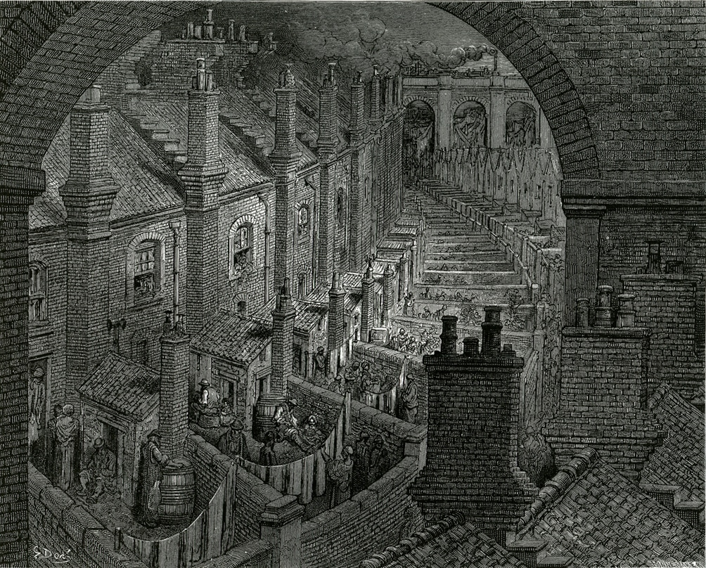 Dicken's London with slum houses: 'London: A Pilgrimage' published in 1872. Engraved by Gustave Doré (1832–1883), French painter, illustrator, engraver, caricaturist, comics artist and lithographer. Public Domain.