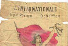 Forside på hæfte med tekst og noder til Internationale, på fransk med Eugène Pottier lyrik og Pierre Degeyters musik. Public domain (expired copyright),