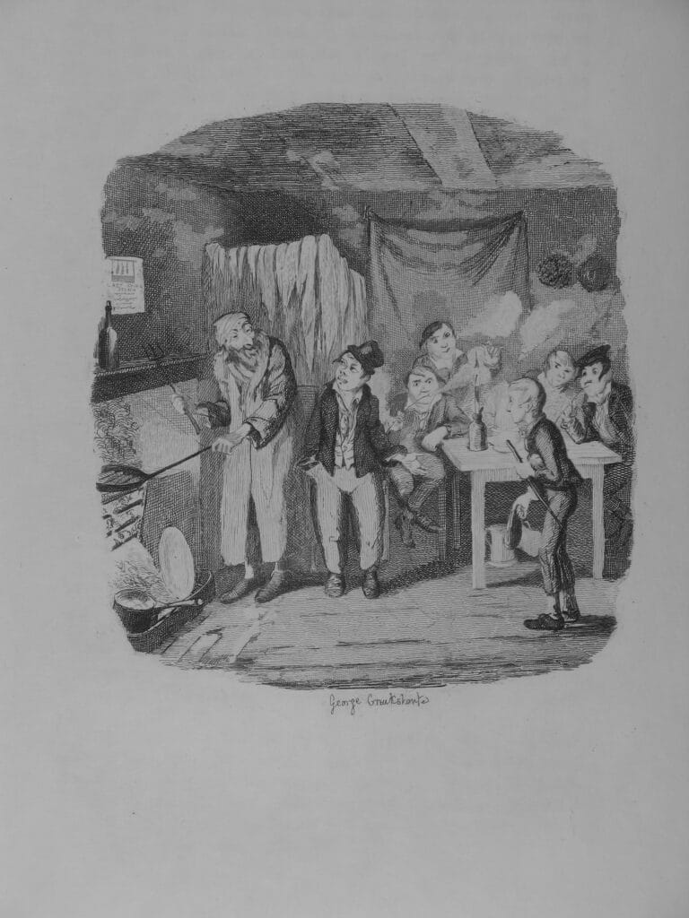"From The Writings of Charles Dickens volume 4, Oliver Twist, titled ""Oliver introduced to the Respectable Old Gentleman"". Engraving by George Cruikshank (1792–1878), British caricaturist, artist, illustrator and photographer. Published 1894 by Houghton, Mifflin and Company. Photographed 2007-01-08. Public Domain."