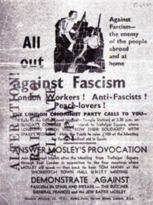 Flyer distributed by the London Communist Party on the occation of the antifacist left confronting a fascist march in Cablestreet in East London on 4. october 1936.