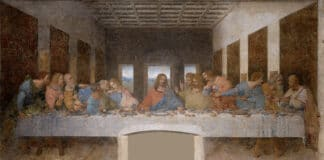 Leonardo_da_Vinci_(1452-1519)_-_The Last Supper. Tempera on gesso, pitch and mastic, painted from 1495 until 1498 by Leonardo da Vinci (1452–1519). Collection: Santa Maria delle Grazie, Milan, Italy. Source/Photographer: Unknown. Public Domain.