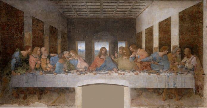 Leonardo_da_Vinci_(1452-1519)_-_The Last Supper. Tempera on gesso, pitch and mastic, painted from 1495 until 1498 by Leonardo da Vinci (1452–1519). Collection: Santa Maria delle Grazie, Milan, Italy. Source/Photographer: Unknown. Public Domain.