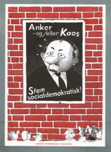 """""""Anker eller Kaos"""". Udsnit af carikaturtegning af Claus Deuleran fra Mandelgaven 1975. Efterfølgende trykt som plakat af Danske Studerendes Fælleråd 1977."""