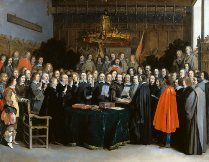 The Ratification of the Spanish-Dutch Treaty of Münster, by swearing an oath (with two fingers raised), 15 May 1648 - The painting is not about the more famous Treaty of Münster signed by France, the Holy Roman Emperor and their respective allies on 24 October 1648. Among the depicted people: Gaspar de Bracamonte, 3rd Count of Peñaranda (1595–1676), Spanish diplomat and statesman and Antoine Brun (1599–1654), baron d'Aspremont, Burgundian diplomat in the service of Philip IV of Spain. Oil on copper by Gerard ter Borch (1617–1681), Dutch painter, draughtsman and miniaturist. Collection: Rijksmuseum Amsterdam, Amsterdam, Nederlands. Public Domain.