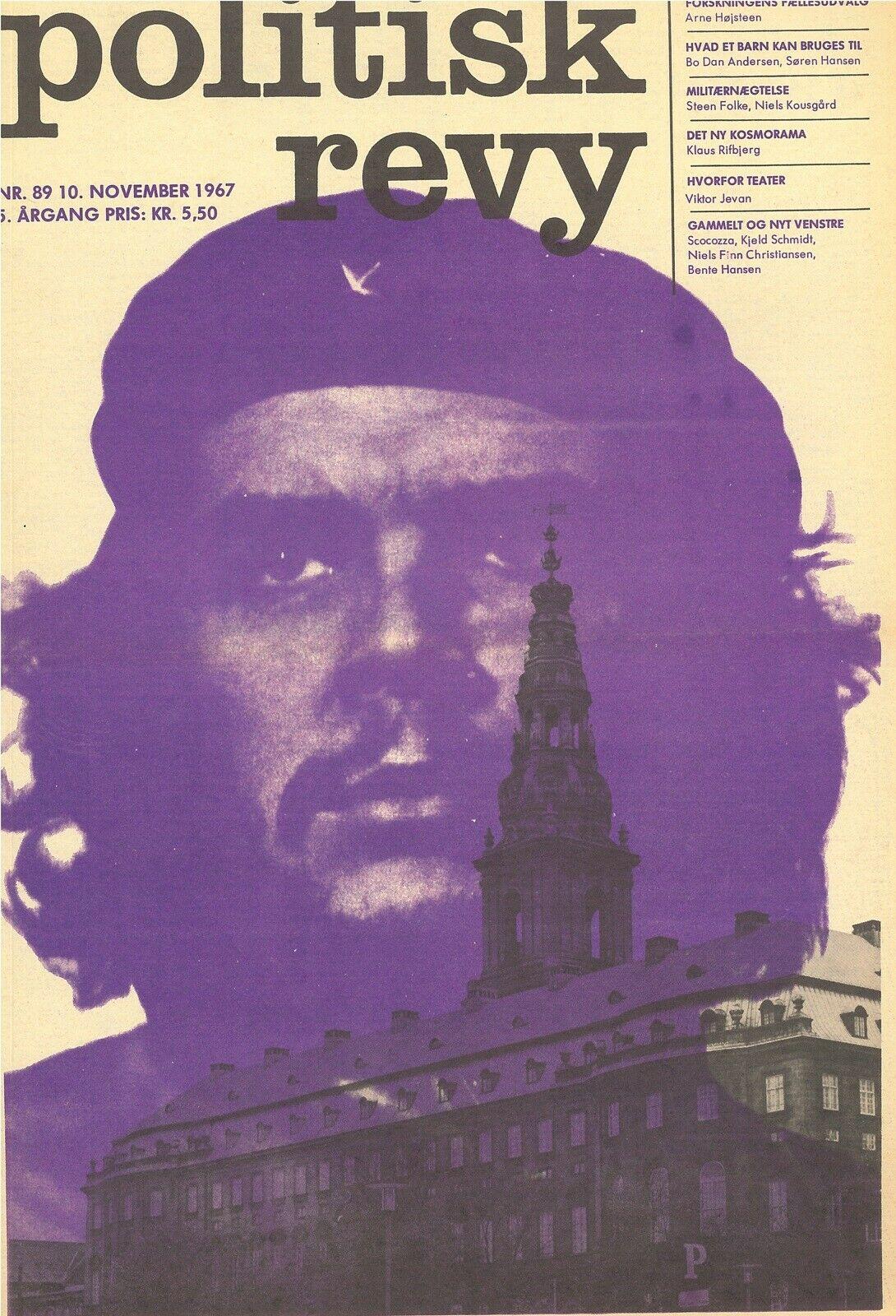 """Politisk Revy. Fjortendagsbladet Politisk Revy (1963-1987) spillede en stor rolle for for venstrefløjens radikalisering og for bevægelsen fra midt-60'erne, og er også central i tre af erindrings-bøgerne nedenfor i afsnittet """"Erindringer om 1968/60'erne"""". Alberto Kordas foto fra 1960 af den argentisk/cubanske guerilla-lederen Ernesto 'Che' Guevara fra 1960 blev populær som plakat, her ses 'Che' over Christiansborg."""