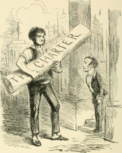 Cartoon from 'Punch', 1848, on the presentation of the Chartists' petition to Parliament. The Working Man presents his charter to Lord John Russell (1792-1878), britisk politiker der indtog flere ministerposter bla. som premiereminister. The text says: NOT so VERY UNREASONABLE ! EH? John: My Mistress says she hopes you wont call a meeting of her creditors ; but if you will leave your Bill in the usual way, itshall be properly attended to. The Chartists in London, exited by the revolutionary proceedings in France, held numerous meetings in London and elsewhere, and drew up a formidable petition. From the book: Mr. Punch's history of modern England, Year: 1921 (1920s), By Graves, Charles L. (Charles Larcom), 1856-1944. No known copyright restrictions.