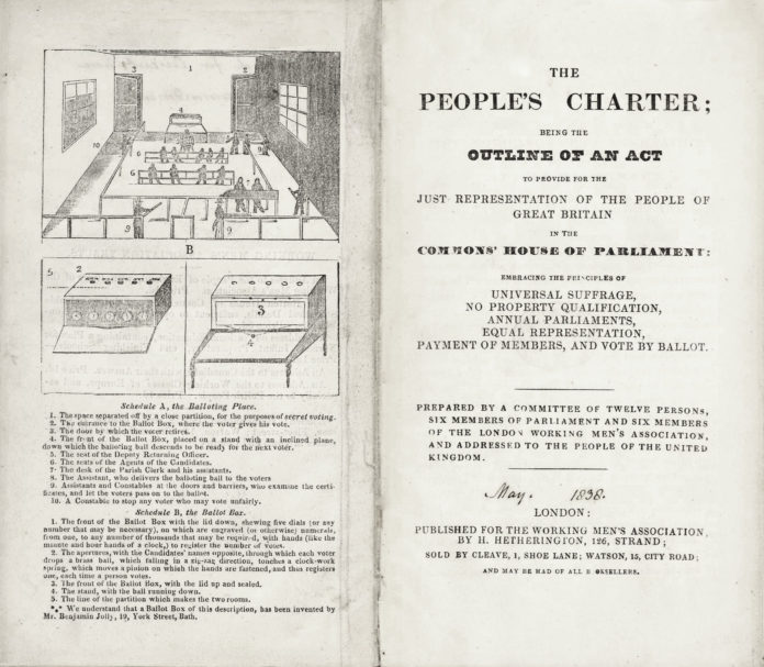 THE PEOPLE'S CHARTER. Written by William Lovett on behalf of the London Working Men's Association and first published in early 1838, the People's Charter begins by setting out the six demands that would come to define Chartism, including most notably the universal male franchise and the secret ballot. The edition shown here was published at some point in early 1839, before the first Chartist petition was presented to Parliament. Although the Charter would evolve over the next 20 years, the six points – already at the core of radical demands for the previous half century – remained a touchstone of Chartist politics. Public Domain.