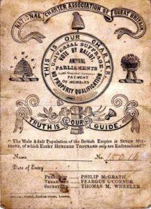 National Charter Association membership card. 1840