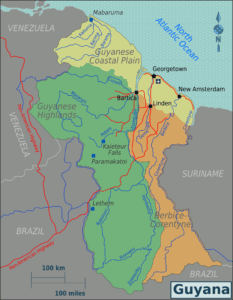"""Map of Guyana, 19 January 2010, Based on Perry-Castañeda Library Map Collection Guyana Maps. Made by Burmesedays, amendments by Joelf. (CC BY-SA 3.0). Source: <a href=""""https://commons.wikimedia.org/wiki/File:Guyana_Regions_map.png"""">Wikimedia Commons</a>."""
