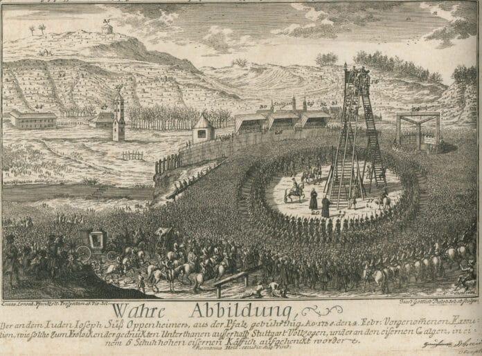 The execution of Joseph Süß Oppenheimer on February 4th, 1738 in front of the Stuttgart city gates.