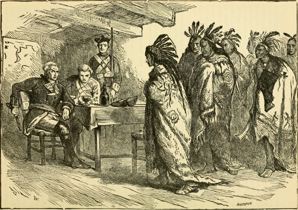 """Illustration titled """"Visit of Pontiac and the Indians to Major Gladwin."""" From book """"Our greater country; being a standard history of the United States from the discovery of the American continent to the present time"""" by Henry Davenport Northrop, (1836-1909). Philadelphia, National pub co. (ca. 1900). Scanned by Library of Congress/Sloan Foundation. Public Domain."""