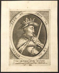 Ericus VIII Menved Dictus Rex Daniæ ... Nummereringen har ikke altid været den samme: Erik Menved 6 (1274-1319) konge af Danmark. Kobberstik fra 1685 af ukendt kunstner. Public Domain.