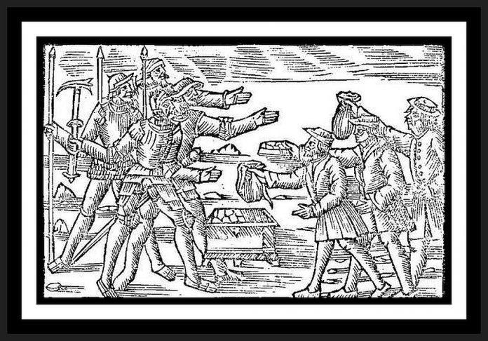 """Skatteinkrævning (her væbnet) var årsag til mange bondeoprør. Billedtekst: """"De tyrannica feueriate & ecaxtione præfectorum"""" [Om fogedernes hårdhed og udnyttelse]. Fra Olaus Magnus [Der egentlig hed Månsson (1490-1557), Svensk kirkelig og forfatter]: Historia de Gentibus Septentrionalibus, bog 8, kap. 27. Public Domain."""