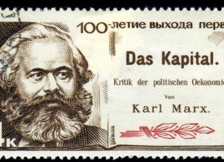Sovjetisk frimærke med billede af Karl Marx og 1. udgaven af Das Kapital.