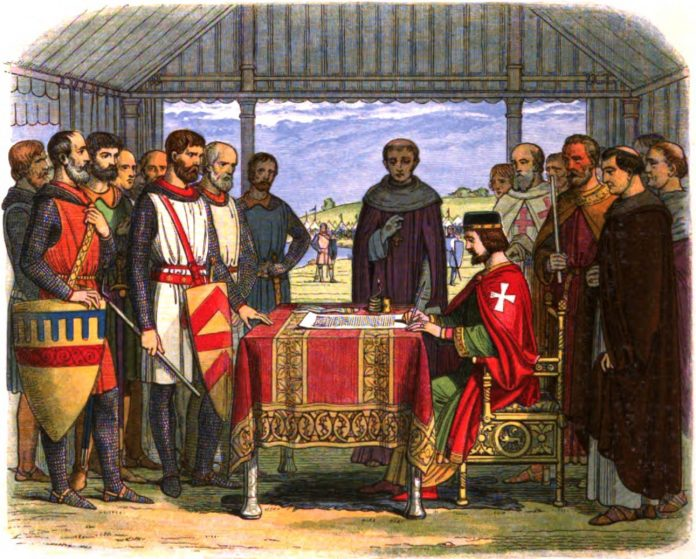 A romanticised 19th-century recreation of King John signing Magna Carta. Engraved in 1864 by James William Edmund Doyle (1822–1892):