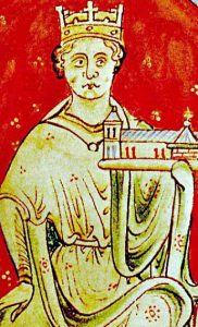 Portrait of King John of England (John Lackland) by Matthew Paris from his Historia Anglorum 1250-59. British Library Royal MS 14 C.VII, f.9 (detail) Public Domain.
